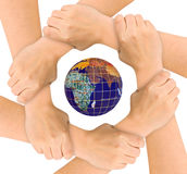 Hands and globe Stock Photos