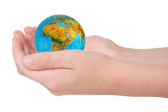Hands with a globe. Stock Photography