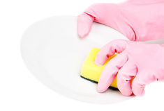 Hands in glove with latex  holding sponge add bowl Stock Photos
