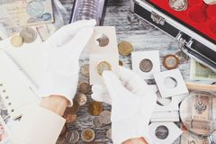 Hands in the gloves hold flip with collector coin. Soft focus background stock photos