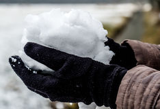 Hands with gloves holding snow Royalty Free Stock Photo