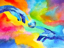 Hands of god connect to another world illustration design watercolor painting. Hand drawn Stock Photography