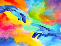 Hands of god connect to another world illustration design watercolor painting. Hand drawn Royalty Free Stock Images