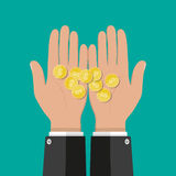 Hands with golden coins. savings, donation, paying Royalty Free Stock Photos