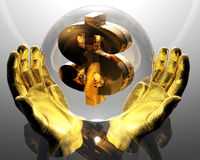 Hands with a golden dollar Stock Photography