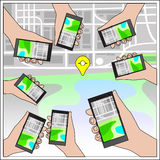Hands with Gps Navigation Stock Photo