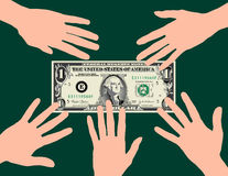 Hands grabbing dollar Stock Photography