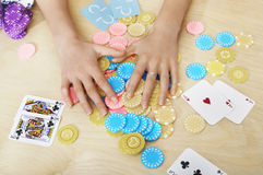 Hands Grabbing Gambling Chips On Table Royalty Free Stock Photo