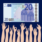 Hands grabbing for money. An illustrated view of many hands reaching or grabbing for a 20 Euro paper bill Stock Photos