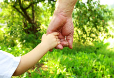 Hands grandfather and grandson Royalty Free Stock Photos