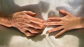 Hands of grandmother and grandchild Stock Images