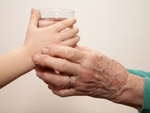 Hands of grandmother and grandchild - water Stock Photography