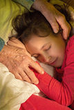 Hands of grandmother and granddaughter Royalty Free Stock Photo