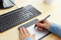 Hands graphic designer at work Royalty Free Stock Image