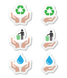 Hands with green, ecology symbols icons set Royalty Free Stock Photo