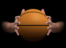 Hands Gripping Basketball Royalty Free Stock Photos