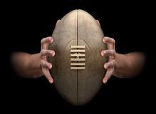 Hands Gripping Rugby Ball Royalty Free Stock Photo