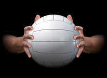 Hands Gripping Volleyball Royalty Free Stock Photography
