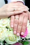 Hands of groom and bride Stock Photo