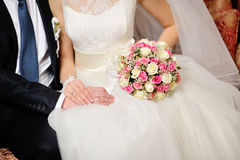 Hands of the groom and the bride Royalty Free Stock Photo