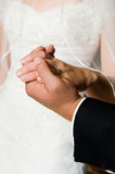 Hands of the groom and the bride. The groom holds a hand of the bride Stock Photos