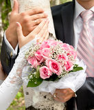 Hands of the groom and the bride on a background of birch trees Royalty Free Stock Photography