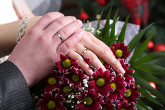 Hands of the groom and the bride on background of wedding bouque Royalty Free Stock Photo
