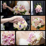 Hands of groom and bride with a bouquet of orchids and roses Royalty Free Stock Photography