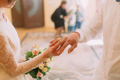 Hands of the groom and bride wearing ring on finger, wedding ceremony in registry office, close-up.  Royalty Free Stock Image