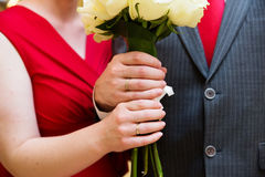Hands of the groom and the bride with wedding rings Royalty Free Stock Photography