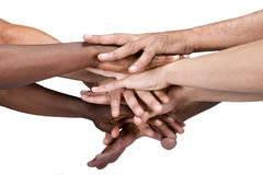 Hands group. Pile of hands isolated on white, Caucasian, African American, Hispanic race Royalty Free Stock Photography