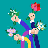 Hands Group Hold Bouquet Flowers Business. Flat Vector Illustration Royalty Free Stock Image