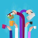 Hands Group Holding Cup Mug Tea Coffee Kettle Break Concept. Hands Group Holding Cup Mug Tea Coffee Kettle Break Flat Vector Illustration Stock Images