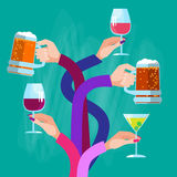 Hands Group Holding Glasses Drinks Cocktail Beer Wine Celebration Stock Photo