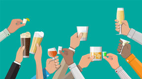 Hands group holding glasses with drinks. Hands group holding glasses with wine, vodka, tequila, liquor, champagne, whiskey, beer and cognac drinks. Celebration Stock Photo