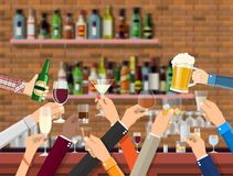 Hands Group Holding Glasses With Various Drinks. Stock Photos