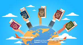 Hands Group Holding Passport Ticket Boarding Pass Travel Document Over World Map Background Stock Photos