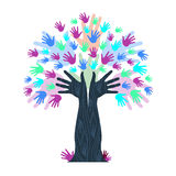 Hands Growth Indicates Tree Trunk And Artwork Stock Photo