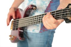 Hands with guitar. On white royalty free stock photo