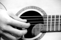 Hands with guitar Stock Photography