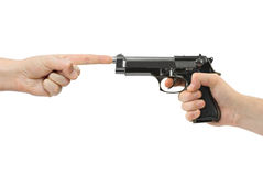 Hands and gun Stock Image