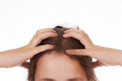 Hands in hair Royalty Free Stock Photo