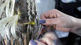 Hands of a hairdresser closeup weaves light braids on the girl's head. A hands of a hairdresser closeup weaves light braids on the girl`s head stock video footage
