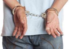 Hands on hancuffed Royalty Free Stock Image