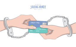 Hands handcuffed tethered to a credit card shaped like infinity Royalty Free Stock Images