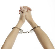 Hands and handcuffs Royalty Free Stock Photos