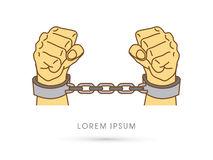 Hands with handcuffs Royalty Free Stock Image
