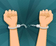 Hands in handcuffs royalty free illustration