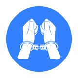 Hands in handcuffs icon in isolated white background. Crime symbol stock Stock Photo