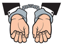 Hands in handcuffs Stock Images